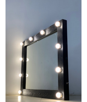 Черное гримерное зеркало 70х70 с подсветкой